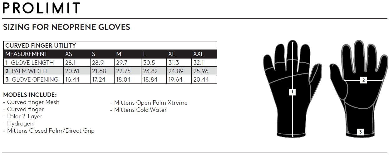 Prolimit glove size chart