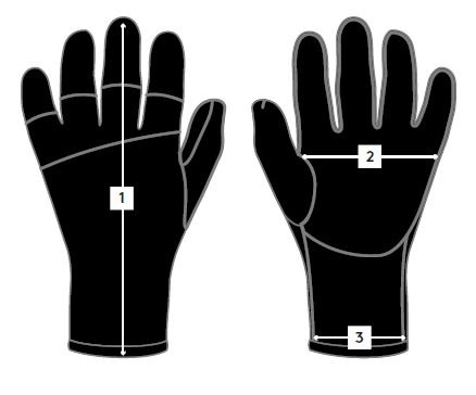 Prolimit neoprene gloves size chart
