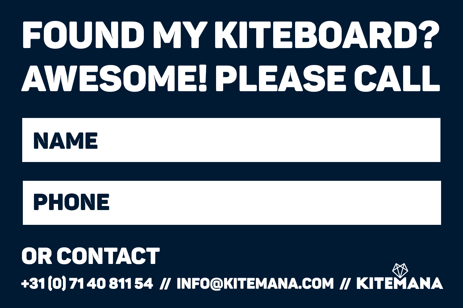 Kitemana Lost & Found Kiteboard Sticker